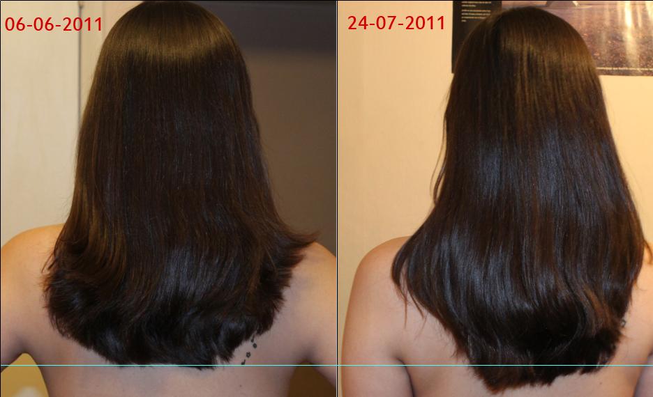 Las máscaras aceiteras para los cabellos las revocaciones de la foto antes y después